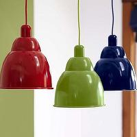 Lighting - Landon Metal Pendants | Pottery Barn Kids - red metal pendant, navy blue metal pendant, green metal pendant,