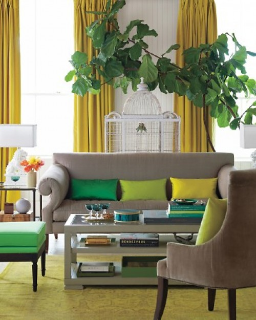 Yellow curtains contemporary living room martha stewart - Grey and emerald green living room ...