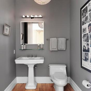 Skonahem - bathrooms - powder room, gray powder room, twine pendant light, twine chandelier, white pedestal sink, white mirror, bathroom mirrors, white bathroom mirrors, vintage glass shelf, hardwood floors in bathroom, bathroom hardwood floors, bathroom wood floors, bathroom art,