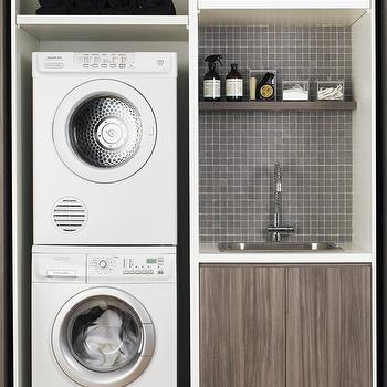 Stacked Washer And Dryer Nook Transitional Laundry Room