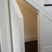 Toby Leary Fine Woodworking - entrances/foyers - traditional staircase, hidden nook, hidden storage nook, faux panels, faux paneling, faux staircase wall, faux staircase wall panel, faux staircase wal paneling, nook under staircase, hidden room under staircase, staircase nook, staircase storage, under stairs storage,