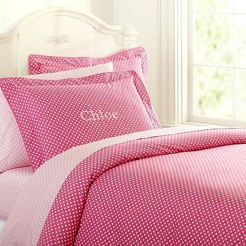 Bedding - Organic Mini Dot Duvet Cover | Pottery Barn Kids - hot pink dot bedding, pink polka dot bedding, pink mini polka dot bedding, organic mini dot duvet cover,