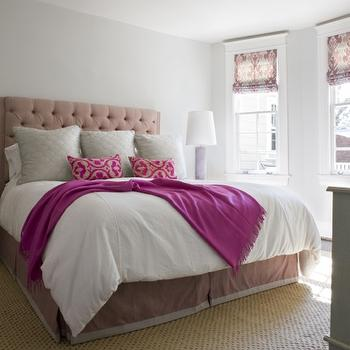 Sally Steponkus Interiors - bedrooms - light gray walls, light gray bedroom walls, dusty pink, dusty pink headboard, tufted headboard, velvet headboard, pink velvet headboard, pink tufted headboard, gray shams, gray pillows, pink bed skirt, pink and gray bed skirt, dusty pink bed skirt, bed skirt with trim, purple throw, purple cashmere throw, purple throw blanket, pink and purple pillows, embroidered pillows, kelly wearstler roman shades, kelly wearstler window treatments, bengal bazaar, magenta bengal bazaar, bengal bazaar magenta, seagrass rug, lilac lamp, lilac table lamp,