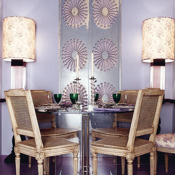 House Beautiful - dining rooms - lavender paint, lavender walls, lavender paint color, lavender dining room, purple dining room, modern dining table, lucite table, lucite dining table, french chairs, cane chairs, french cane chairs, purple floor,
