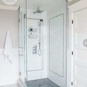 Style at Home - bathrooms - glass shower, corner shower, corner glass shower, beveled subway tile shower, beveled subway tile shower surround, black tile shower floor, black shower floor, mosaic tile shower floor, black mosaic tile shower floor, rain shower head, nickel shower caddy, shower caddy, gray walls, gray bathroom walls, beveled subway tile backsplash, beveled subway tile wall, marble tile lfoor, marble bathroom floor, white beveled subway tile, white beveled subway tile shower, corner shower, corner shower design, corner shower ideas,