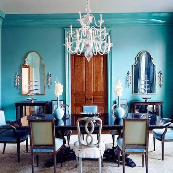 Turquoise Dining Room, Eclectic, dining room, Glidden Seven Lakes, House Beautiful