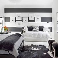House Beautiful - boy&#039;s rooms - boys bedroom, boy bedroom, black and white boys room, black and white boy room, black and white boy bedroom, black and white boys bedroom, striped walls, boys striped walls, horizontal striped walls, boys horizontal striped walls, black and white walls, black and white striped walls, black and white horizontal striped walls, daybed, boys daybed, boy daybed, art gallery, boy art gallery, boys art gallery, daybed, white daybed, boy daybed, boys daybed, black and white pillows, hotel bedding, black bed, glossy black bed, boy bed, boys bed, gray and black bedding, gray bedding, black bedding, boy bedding, boys bedding, cowhide rugs, black and white rugs, black and white cowhide rugs, black cowhide rugs, ottomans, storage ottomans, cowhide ottomans, nailhead ottomans, cowhide nailhead ottomans,