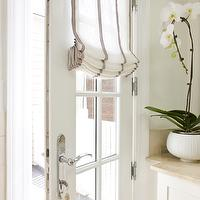 Sally Steponkus Interiors - laundry/mud rooms - mudroom doors, glass panes, roman shade, french grain sack, grain sack roman shade, french grain sack roman shade,
