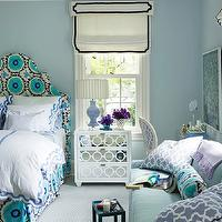 House Beautiful - girl&#039;s rooms - Benjamin Moore - Mountain Mist - girls bedroom, girl bedroom, blue girl bedroom, blue girls bedroom, blue walls, blue paint color, girls paint colors, girls room paint colors, girl room paint colors, girl bedroom paint colors, girls bedroom paint colors, cornice box, cream and black cornice box, roman shade, cream and black roman shade, turquoise bed, turquoise blue bed, turquoise headboard, turquoise blue headboard, suzani headboard, suzani bed, upholstered bed, upholstered headboard, scallop bedding, scalloped bedding, girl bedding, girls bedding, mirrored nightstand, mirro nightstand, lilac lamp, girl lamps, girls lamps, blue sofa, turquoise sofa, turquoise blue sofa, purple pillows, trellis pillows, purple trellis pillows, bolster pillow, suzani bolster pillow, blue and purple girl bedroom, blue and purple girls bedroom, quadrille fabrics, suzzani fabric, quadrille suzzani, quadrille suzzani fabric,