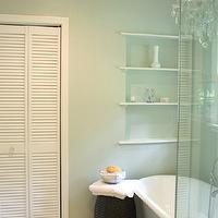 Benign Objects - bathrooms - Sherwin Williams - Sea Salt - blue green walls, green blue walls, blue green paint, green blue paint, blue green paint color, green blue paint color, louvered doors, bathroom louvered doors, vintage tiles, vintage bathroom tiles, vintage floor tiles, bathroom shelving, bathroom shelves, built-in shelves, built in shelving, bathroom chandelier, chandelier in bathroom, chandelier over tub, chandelier above tub, chandelier over bathtub, chandelier above bathtub, bathroom stools, bathroom crystal chandeliers,