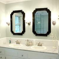 Benign Objects - bathrooms - Sherwin Williams - Sea Salt - blue green walls, green blue walls, blue green paint, green blue paint, blue green paint color, green blue paint color, black mirrors, lowes mirrors, lowes bathroom mirrors, bathroom vanity mirrors, white bathroom cabinets, double vanity, double vanity ideas, carrara marble countertop, his and her sinks, double sinks, subway tile backsplash, lowes bathroom mirror,