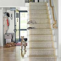 House Beautiful - entrances/foyers - nautical stairwell, rope handrail, staircase runner,  Thom Filicia - Nautical stairwell with rope handrail