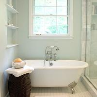 Benign Objects - bathrooms - Sherwin Williams - Sea Salt - seamless glass shower, glass shower, grecian marble, marble shower surround, grecian marble shower, vintage tile shower floor, blue green walls, green blue walls, blue green paint, green blue paint, blue green paint color, green blue paint color, louvered doors, vintage tiles, vintage bathroom tiles, vintage floor tiles, bathroom shelving, bathroom chandelier, chandelier in bathroom, chandelier over tub, chandelier above tub, chandelier over bathtub, chandelier above bathtub, bathroom stools, bathroom crystal chandeliers, vintage style tub filler, floor mount tub filler, vintage floor mount tub filler,