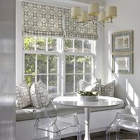 Sally Steponkus Interiors - kitchens - gray dining nook, gray breakfast nook, gray walls, built-in banquette, window seat, banquette window seat, gray cushions, windsor smith home, windsor smith home pillows, pelagos pillows, haze pelagos, pelagos haze, pelagos pillows, haze pelagos pillows, pelagos haze pillows, roman shades, pelagos roman shades, haze pelgaos roman shades, pelagos haze roman shades, 6-light chandelier, polished nickel chandelier, docksta, docksta table, docksta dining table, ghost chairs, kartell ghost chairs,