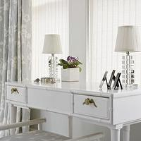Sally Steponkus Interiors - bedrooms - gray bedroom, dressing vanity, make up vanity, gray walls, white and gray curtains, white and gray drapes, gray curtains, gray drapes, white vanity, faux bamboo vanity, bamboo vanity, white bamboo vanity, vanity bench, faux bamboo bench, bamboo bench, white vanity bench, white faux bamboo bench, crystal lamps, white and gray bedroom,