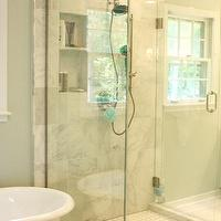 Benign Objects - bathrooms - Sherwin Williams - Sea Salt - seamless glass shower, glass shower, grecian marble, marble shower surround, grecian marble shower, shower niches, vintage tile shower floor, blue green walls, green blue walls, blue green paint, green blue paint, blue green paint color, green blue paint color, louvered doors, vintage tiles, vintage bathroom tiles, vintage floor tiles, bathroom shelving, bathroom chandelier, chandelier in bathroom, chandelier over tub, chandelier above tub, chandelier over bathtub, chandelier above bathtub, bathroom stools, bathroom crystal chandeliers, grecian marble, grecian marble tile,