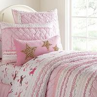 Bedding - Brigette Ruffle Quilted Bedding | Pottery Barn Kids - pink ruffle quilted bedding, pink ruffled quilt, ruffled quilt girls bedding,