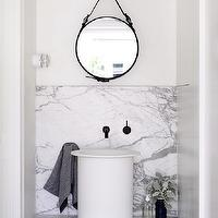 bathrooms - modern bathroom, modern bathroom vanity, floating vanity, marble vanity, floating bathroom vanity, floating marble vanity, marble vanity, modern sink, vessel sink, white vessel sink, bathroom vessel sink, oil rubbed bronze faucet, wall mount faucet, wall mounted faucet, captains mirror, black captains mirror, leather captains mirror, black leather captains mirror, marble floating vanity, marble floating bathroom vanity,