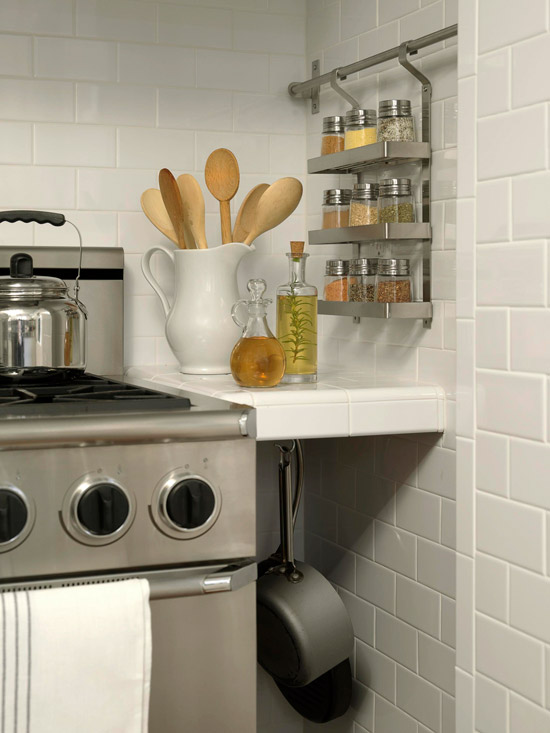 Stainless steel spice rack transitional kitchen bhg Kitchen backsplash ideas bhg