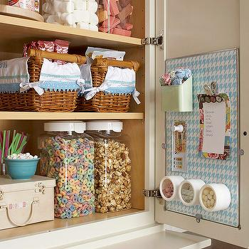 BHG - kitchens - organized kitchen, organized kitchen cupboard, pantry storage, pantry organization, rattan baskets, rattan tray, canister, plastic canister storage, magnetic memo board, blue and white hounds tooth, magnetic spice rack, spice canisters, magnetic spice canisters, kitchen pantry,