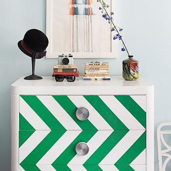 House Beautiful - bedrooms - chevron chest, painted chest, chevron painted chest, chevron pattern on chest, green chevron chest, lacquer cabinet, white lacquer cabinet,