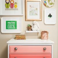 Chic girl's bedroom with eclectic art gallery over pink ombre chest. Girl's room art ...