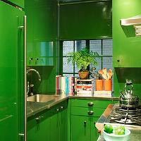 House Beautiful - kitchens - Fine Paints of Europe - Bamboo Leaf - green kitchen, green cabinets, green kitchen cabinets, painted cabinets, painted kitchen cabinets, green refrigerator, stainless steel countertops, gooseneck faucet, small kitchen, efficient kitchen, green vinyl shade, green kitchen shade, vinyl window shades, green window treatments, bright green cabinets, bright green kitchen cabinets,