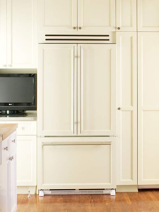 Grant Beige  television nook, tv nook, kitchen tv, wall of cabinets