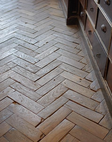 Herringbone Wood Floor Transitional Entrance Foyer