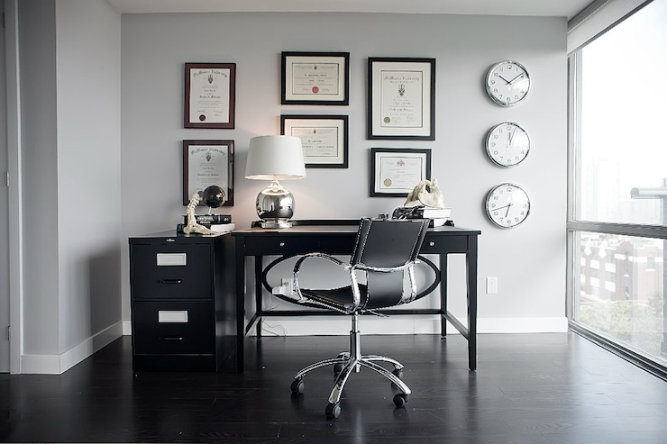 Gray And Black Office Contemporary Den Library Office