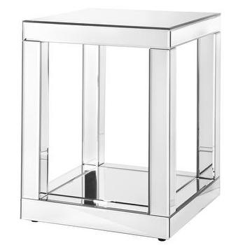 Tables - Accent Table - Mirrored I Target - mirrored accent table, mirrored side table, mirrored end table,