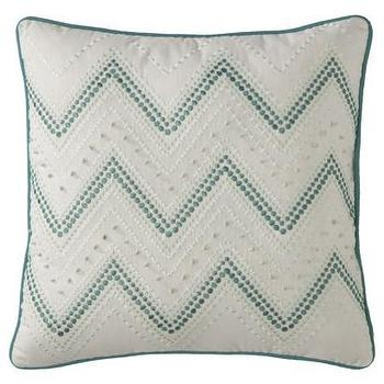 Pillows - Threshold White and Turquoise Knot Chevron Pillow I Target - white and turquoise pillow, white and turquoise chevron pillow, white and turquoise embroidered pillow,