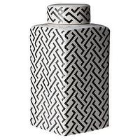 Decor/Accessories - Three Hands Black and White Ceramic Jar I Target - black and white ceramic jar, modern black and white ceramic jar, modern black and white jar,