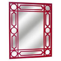 Mirrors - Threshold Lattice Mirror - Ruby I Target - red mirror, red lattice mirror, red lattice framed mirror,