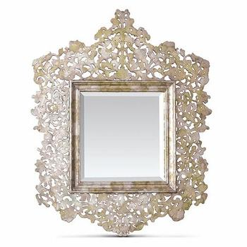 Mirrors - Ives Capiz in Teastain I Cottage and Bungalow - capiz shell mosaic mirror, ornate capiz shell mirror, antiqued capiz shell mirror,