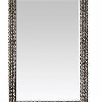 Mirrors - Damian Mirror I Cottage and Bungalow - gray seashell mirror, seashell framed mirror, coastal gray mirror, beachy gray mirror,