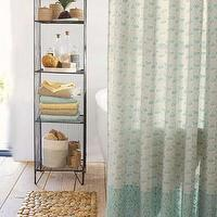 Bath - Indian Block Print Shower Curtain I VivaTerra - indian block print shower curtain, aqua block print shower curtain, aqua shower curtain,