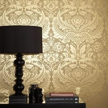 Wallpaper - Desire Wallpaper ���?? Gold Wallpaper - Graham & Brown - gold damask wallpaper, metallic wallpaper, yellow metallic wallpaper,