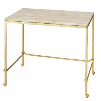 Tables - Delano Desk I Cottage and Bungalow - gold leaf writing desk, gold writing desk, crystal stone topped writing desk,