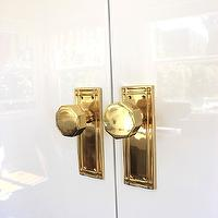 Emily Henderson - living rooms - white lacquered doors, lacquered doors, glossy white doors, brass door knobs, octagonal brass door knobs, brass knobs, octagon door knobs,