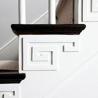 BHG - entrances/foyers - elegant staircase, black stair treads, white staircase spindles, white spindles, stair runner, greek key overlay panels, greek key details, greek key detailing on stairs, white walls, greek key trim, staircase trim, greek key staircase trim,
