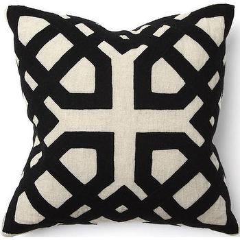Pillows - African Khwai Applique Black Pillow I High Fashion Home - black applique pillow, African applique pillow, black African pillow,