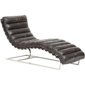 Seating - Oviedo Leather Lounge, Ebony I High Fashion Home - black leather chaise, mid-century leather chaise, modern black leather chair lounge,