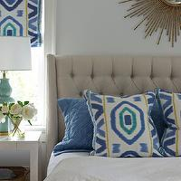 Nightingale Design - bedrooms - yellow and blue bedroom, blue and yellow bedroom, blue bedroom with pops of yellow, yellow accents, blue and yellow room, yellow and blue room, blue walls, blue bedroom walls, prospect fabric, ikat window panels, ikat window treatments, ikat roman shades, ikat roman shades, blue and yellow roman shades, blue and yellow ikat roman shades, sunburst mirror, gold sunburst mirror, gray headboard, tufted headboard, gray tufted headboard, blue and yellow pillows, ikat pillows, blue and yellow ikat pillows, scallop duvet, scalloped duvet, scalloped bedding, white nightstands, parsons nightstands, white parsons nightstands, turquoise lamp, turquoise blue lamps, thom filicia fabric, prospect fabric, Thom Filicia Prospect Fabric in Lake,