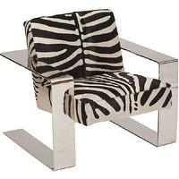 Seating - Connor Zebra Chair I High Fashion Home - zebra print chair, modern chrome chair, chrome and zebra print chair, modern zebra print chair,