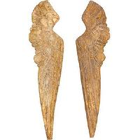 Art/Wall Decor - Small Wood Wing Pair I High Fashion Home - gold wing wall decor, wing wall decor, gold angel wing wall decor,