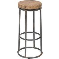 Seating - Jaden Barstool I High Fashion Home - reclaimed wood barstool, industrial bar stool, wood and iron bar stool,