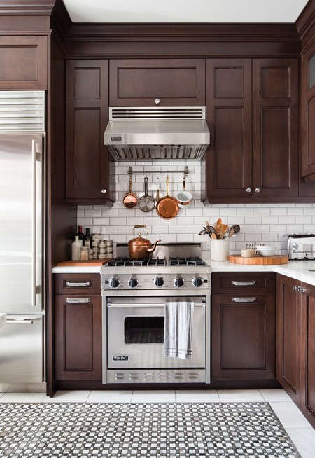 Chocolate brown cabinets transitional kitchen house for Chocolate kitchen cabinets with stainless steel appliances