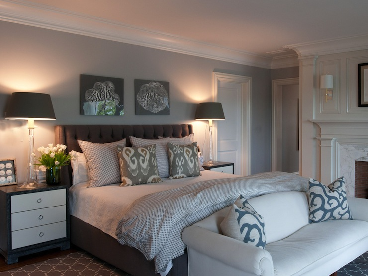 glass lamp gray walls gray bedroom walls gray headboard gray