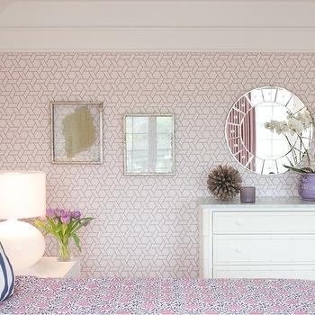 Trellis Wallpaper, Transitional, girl's room, Nightingale Design